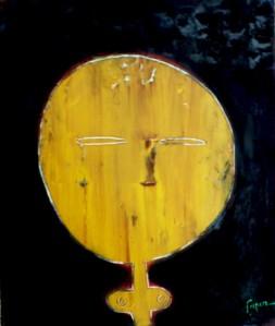 MASQUE 8 - 55x46cm - oil paint, pure pigments on canvas - 2012-14