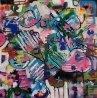 mixed media on canvas 100 x 100 cm