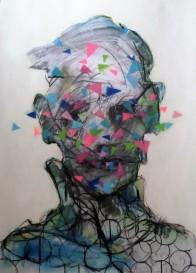 mixed media on paper framed 85 x 60 cm