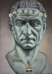 Caio Julius Caesar, 2017 Acrylic spray on steel wool, 70 x 120 x 8cm