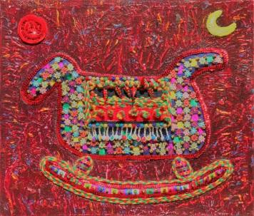 Kim, Sung Hye Horse, 45.5X45.5cm, Mixed Media on Canvas 2017